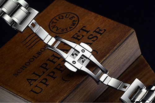 23mm Mens Luxury Heavy Solid Steel Watch Bands with Both Curved End Straight End Deployment Clasp | Amazon.com