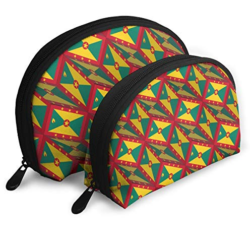 - Cosmetic Bag Grenada Flag 3D Art Pattern Travel Makeup Pencil Pen Case Multifunction Storage Portable - 2 Piece Set