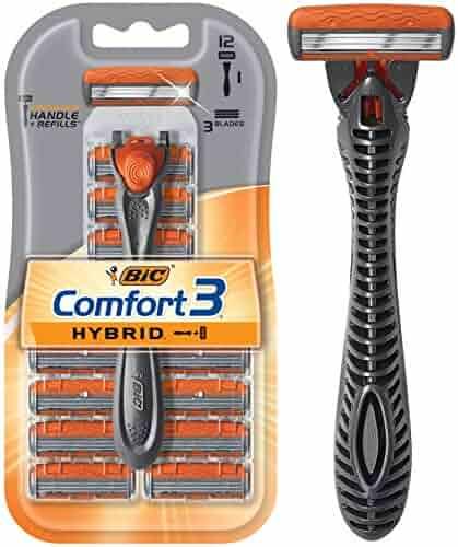 BIC Comfort 3 Hybrid Men's Razor, 1 Handle 12 Cartridges