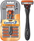 BIC Comfort 3 Hybrid Men's Razor, 1 Handle 12 Cartridges