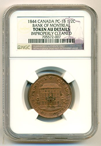 1844 Ca Canada Bank Of Montreal 1 2 Penny Pc 1B Token About Uncirculated Details Ngc