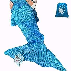 "LAGHCAT Mermaid Tail Blanket Crochet and Mermaid Blanket for adult, Super Soft All Seasons Sleeping Gifts Blankets, 71""x35.5"", Blue"