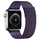 KOUUNN Compatible for Apple Watch Band 38mm 40mm 42mm 44mm iWatch Series 5 4 3 2 1, Sport Weave Strap with Hook and Loop Fastener Replacement Wristband