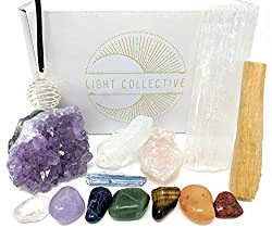 TIME to Align Crystal Kit for Chakra Balancing/Including Tumbled Stones, Raw Amethyst and Rose Quartz, for Reiki Healing, Wellness, and Meditation