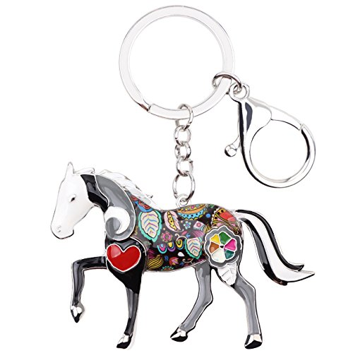 - Enamel Metal Horse Key chains For Women Girls Gifts Car Purse Animal Pendant Charms toy (Grey)