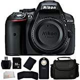 Nikon D5300 24.2 MP CMOS Digital SLR Camera with Built-in Wi-Fi and GPS Body Only (Black) - International Version (No Warranty) + 32GB Bundle + MORE