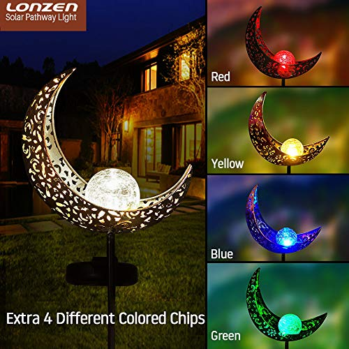 - Solar Pathway 5 Colors Lights Outdoor - 2019 Moon Crackle Glass Globe Garden Stake Metal Lights, Led Solar Landscape Lights, Waterproof Auto On/Off Sun Powered Lighting Decorate Yard, Patio