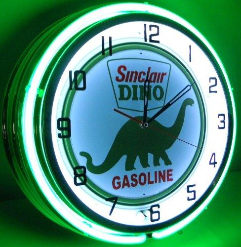 SINCLAIR DINO 18'' DUAL NEON LIGHT WALL CLOCK GASOLINE GAS FUEL PUMP OIL SIGN GREEN