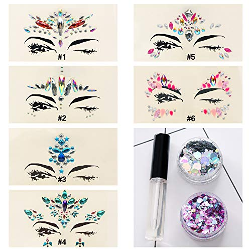 6 Sets Mermaid Body Chest Face Forehead Eyes Gems Rhinestones Jewels Crystals Jewelry Stickers Temporary Tattoo for Music Festival Party Carnival+Free Chunky Glitter+Glitter Glue (Pack #25)
