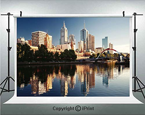 City Photography Backdrops Idyllic View of Yarra River Melbourne Australia Architecture Tourism,Birthday Party Background Customized Microfiber Photo Studio Props,7x5ft,Dark Blue Ivory Dark Green
