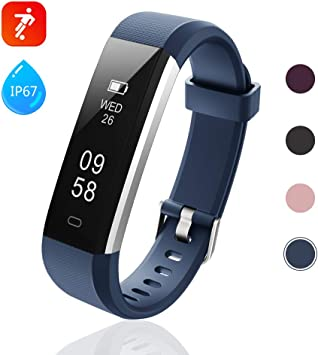 Lintelek Fitness Armband Aktivitätstracker IP67 Wasserdicht Blau