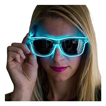 Neon Nightlife Aqua Frame/Slightly Tinted Lens Light Up Glasses