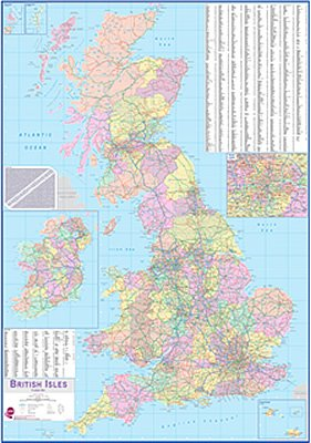 Map Of England Showing Major Cities.British Isles Planning Wall Map Laminated Map With Roller Blind