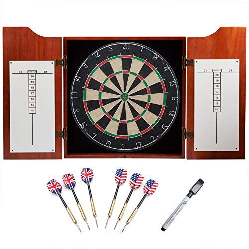 GSE Games & Sports Expert Solid Wood Dartboard Cabinet Set with Bristle Dartboard and 6 Steel Tip...