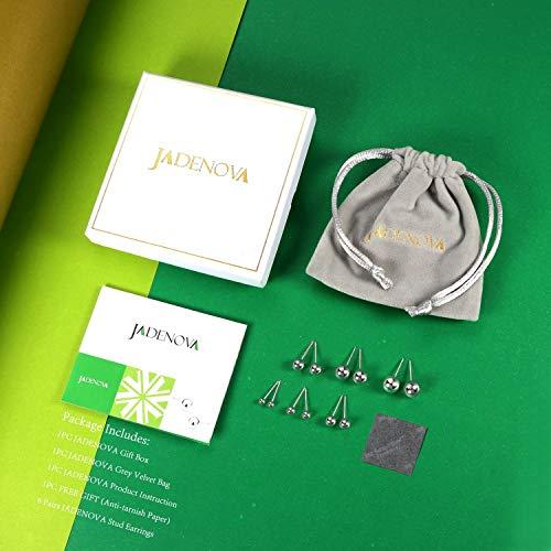 Jadenova 925 Sterling Silver Earrings Round Ball Stud Earrings Set