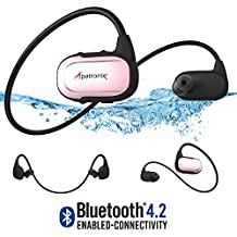Alpatronix HX250 Waterproof Bluetooth Headset Wireless Sport IPX7 Headphones w/ Mic, Built-in Memory (8GB), Sweatproof, Swimming, Running Earbuds Stereo BT 4.2 Earphones for BT Devices (Rose Gold)