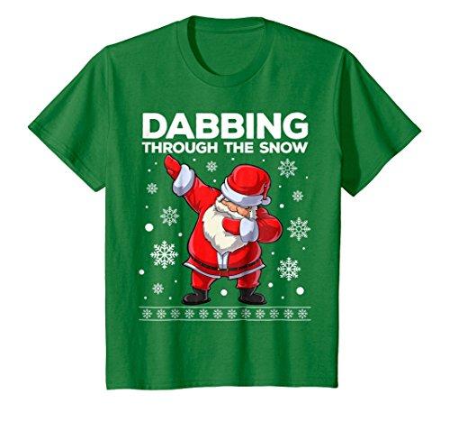 Kids Dabbing Through the Snow T Shirt Santa Christmas Dab Gifts 10 Kelly (Santa Youth T-shirt)