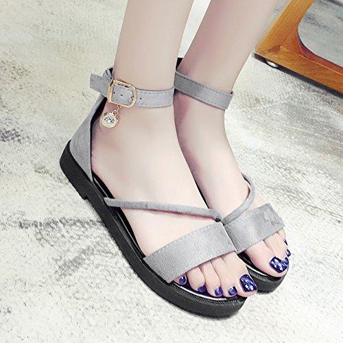RUGAI-UE Hermana suave plana sandalias de verano Mujer Thbshoes plana Gray