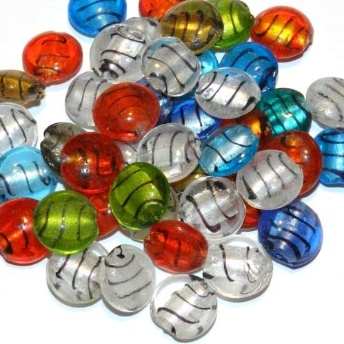 G3524 Assorted Color Silver Foil Lined 15mm Flat Round Glass Bead Mix 25pc Crafting Key Chain Bracelet Necklace Jewelry Accessories Pendants