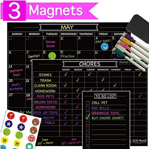 (XOXO Parents 3 Magnet Dry Erase Organization Set - Family Calendar, Chore Chart and List Magnet - Perfect for Multiple Kids and Adults - Bonus Chalk Markers, Icon Magnets and Eraser)