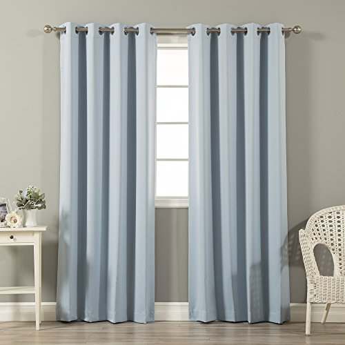 Best Home Fashion Thermal Insulated Blackout Curtains - Stainless Steel Nickel Grommet Top - Sky Blue - 52