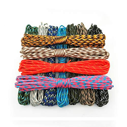 (Elibone 550 Paracord Parachute Cord Lanyard Tent Rope Mil Spec Type III 7 Strand 100FT Paracord for Hiking Camping 208 Colors, Message,20 Meters)