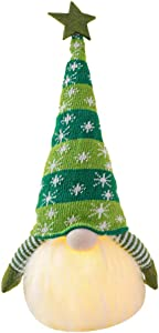 porfeet Christmas Hat Gnome LED Lights, Dolls Ornament Toy Home Xmas Decor Handmade Swedish Doll Lighted Nordic Figurine Plush Elf Toy Winter Table Ornament Holiday Presents Home Decoration Green