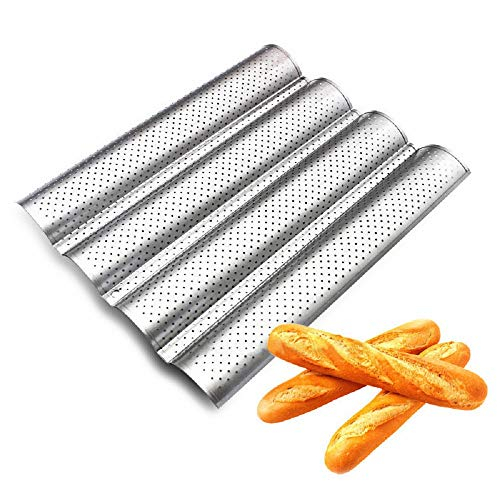 Nonstick Perforated Baguette Pan Silver Steel Tray 15 x 13 inch for French Bread Baking