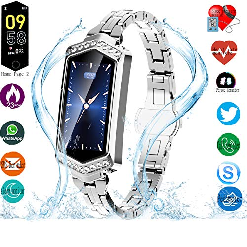 Smart Watch, Fitness Tracker with Heart Rate & Blood Pressure & Sleep monitor for Android & IOS, IP67, Activity Tracker Watch with Calorie Counter & Pedometer, Smart Watch Wristband for Girls (Silver) ()