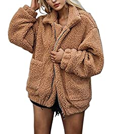 Women's Coat Casual Lapel Fleece Fuzzy Faux Shearling Warm Winter Jacket