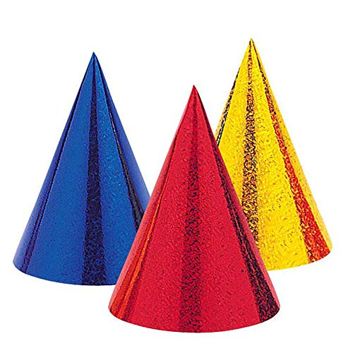 MA ONLINE Pack of 8 Prismatic Foil Cone Hat Anniversary New Year Party Supply ()