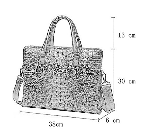 Two Zippers Genuine 38x43x6cm Unisex Laptop Crocodile Elezay Leather Purse Handbags Layers Embossed Coffee Classic w8UqxgxIY