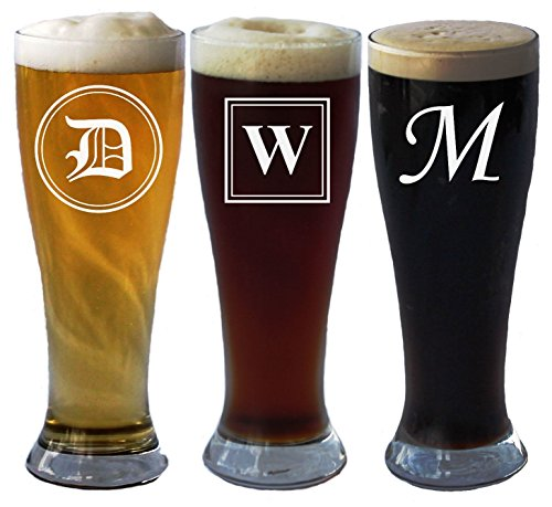 Engraved Personalized Pilsner Beer Glass with Initial 16 Oz - Wedding Party Groomsmen Father's Day Gifts - Custom Monogrammed Drinkware Glassware Barware Etched for - Pilsner Custom Glasses Etched