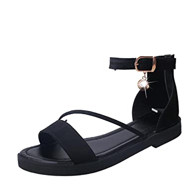 cd176439bf02 Inkach Women Flat Sandals - Fashion Peep-Toe Summer Sandals - Ankle Wrap  Shoes Flip