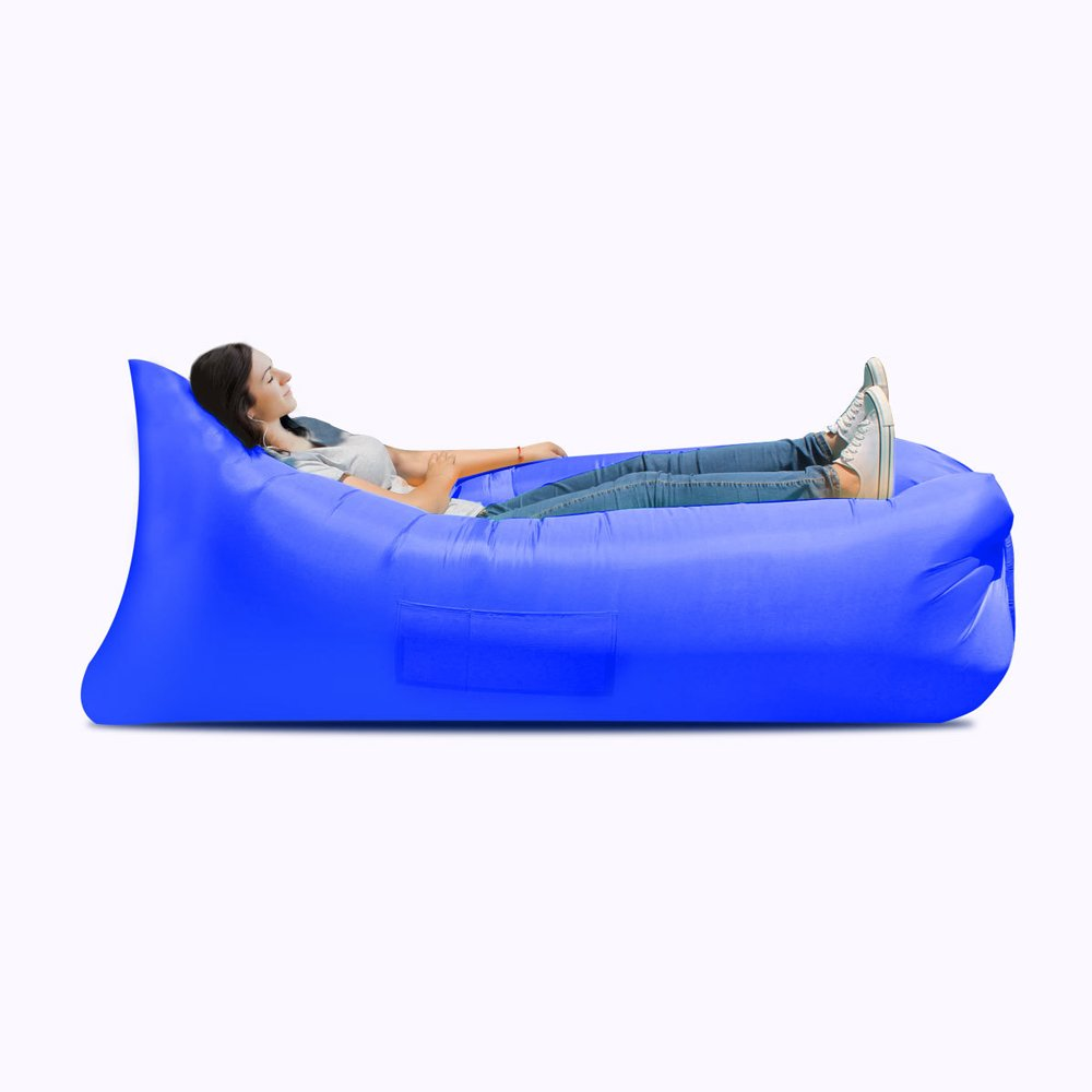 Inflatable Bed Inflatable Sofa Bed, Inflatable Bed, Portable Waterproof Leak-proof Air Cushion Sofa Bed, Camping Supplies, Hiking Air Chair ( Color : Blue ) by JYKJ