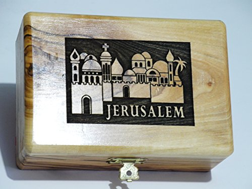 Box Olive Wood Jerusalem Church Jewelry Keepsake Holy Land Christian Gift EX LRG