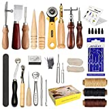 Arts & Crafts : Leather Craft Tool SIMPZIA 25 Pcs Professional Leather Sewing Kit DIY Hand Stitching Tools with Groover Awl Edge Creaser.Be Careful of Its sharp edges Keep Way from Children