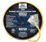 75 extension cord - 75 ft 14 Gauge Heavy Duty Indoor Outdoor SJTW Lighted Triple Outlet Extension Cord by Watts Wire - Yellow 75 foot 14 AWG Copper Lighted Multi Outlet Grounded 14/3 Extension Cord