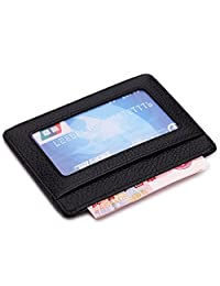 American Trends Genuine Leather Unisex Slim Card Case Card Holder With ID Card Window Black