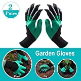 WEBSUN 2 Pairs Garden Genie Gloves with Claws on EACH Hand Waterproof Digging Gloves for Gardening