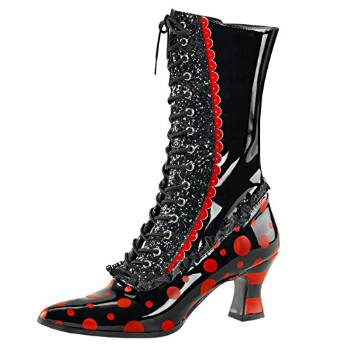 Womens Black Costume Boots Red Polka Dots Halloween Witch...