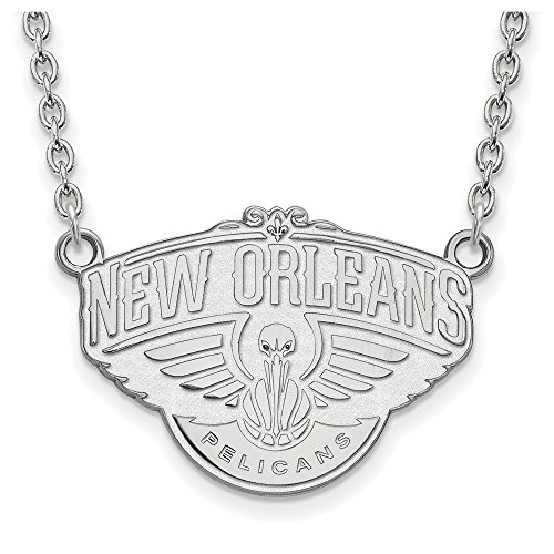 LogoArt NBA New Orleans Pelicans Large Pendant Necklace in Rhodium Plated Sterling Silver - 18 Inch from LogoArt