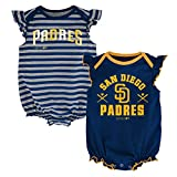 MLB San Diego Padres Newborn Girls 2Pk Creeper,6/9 Months,Athletic Navy
