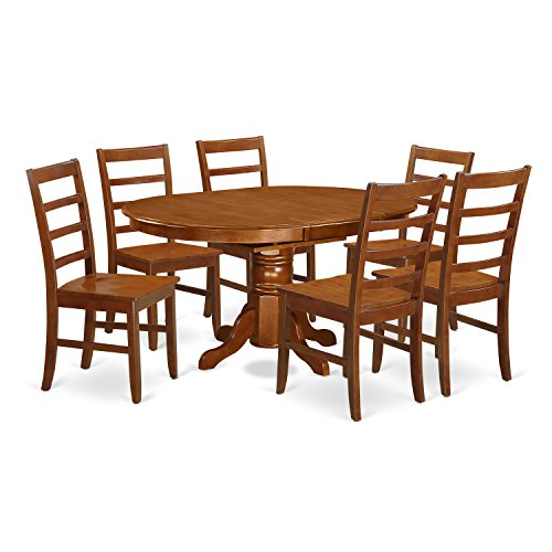 East West Furniture AVPF7-SBR-W 7-Piece Dining Table Set ()