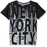 DKNY Little Boys' Short Sleeve T-Shirt (More Styles Available), Caviar Blk, 6