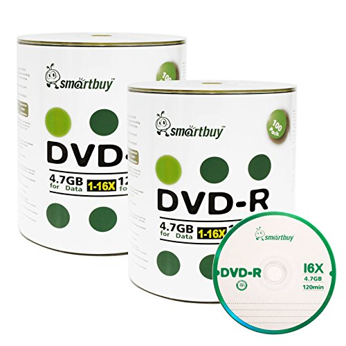 Smartbuy 200-disc 4.7gb/120min 16x DVD-R Logo Top Blank Data Recordable Media Disc