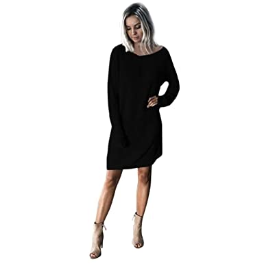 Women s Sweater Dress Long Sleeve Casual Loose Solid Mini Dress for Ladies  Teen Girls Fashion Knitted 6b34714373