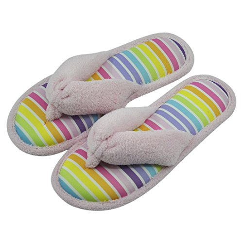 Forfoot Womens House Slippers Cozy Plush Fleece Indoor Non-Slip Spa Thong Slipper Flip-Flops Stripe Pink