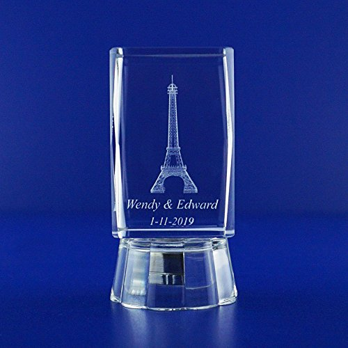 12 pcs Personalized Custom Laser Etched Engraving 3D Eiffel Towers Theme Crystal Glass Cube for Wedding Reception Wedding Favors Ideas & Gifts Bridal Shower Quinceañera Mis 15 Años (2.5