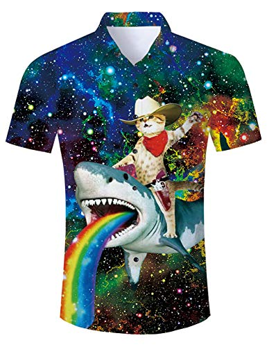 Goodstoworld Funny Hawaiian Shirts 3D Shark Rainbow Print Fish Youth Beachwear Aloha Button Down Unique Dress Shirt Casual Polo Retro Awesome Camp Tropical Captain Cat Costumes Tee -